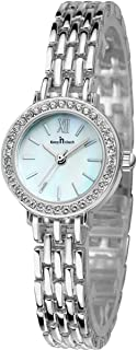 Women Stainless Steel Wrist Watch with Czech Rhinestones and Roman Analog Indices