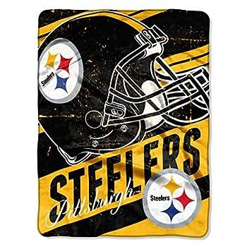 The Northwest Company NFL Pittsburgh Steelers  Deep Slant  Micro Raschel Throw Blanket 46  x 60   Black