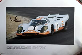 Gulf Porsche 917K Watkins Glen 6 Hours 1971 poster Autographed by Derek Bell – 13″x19″