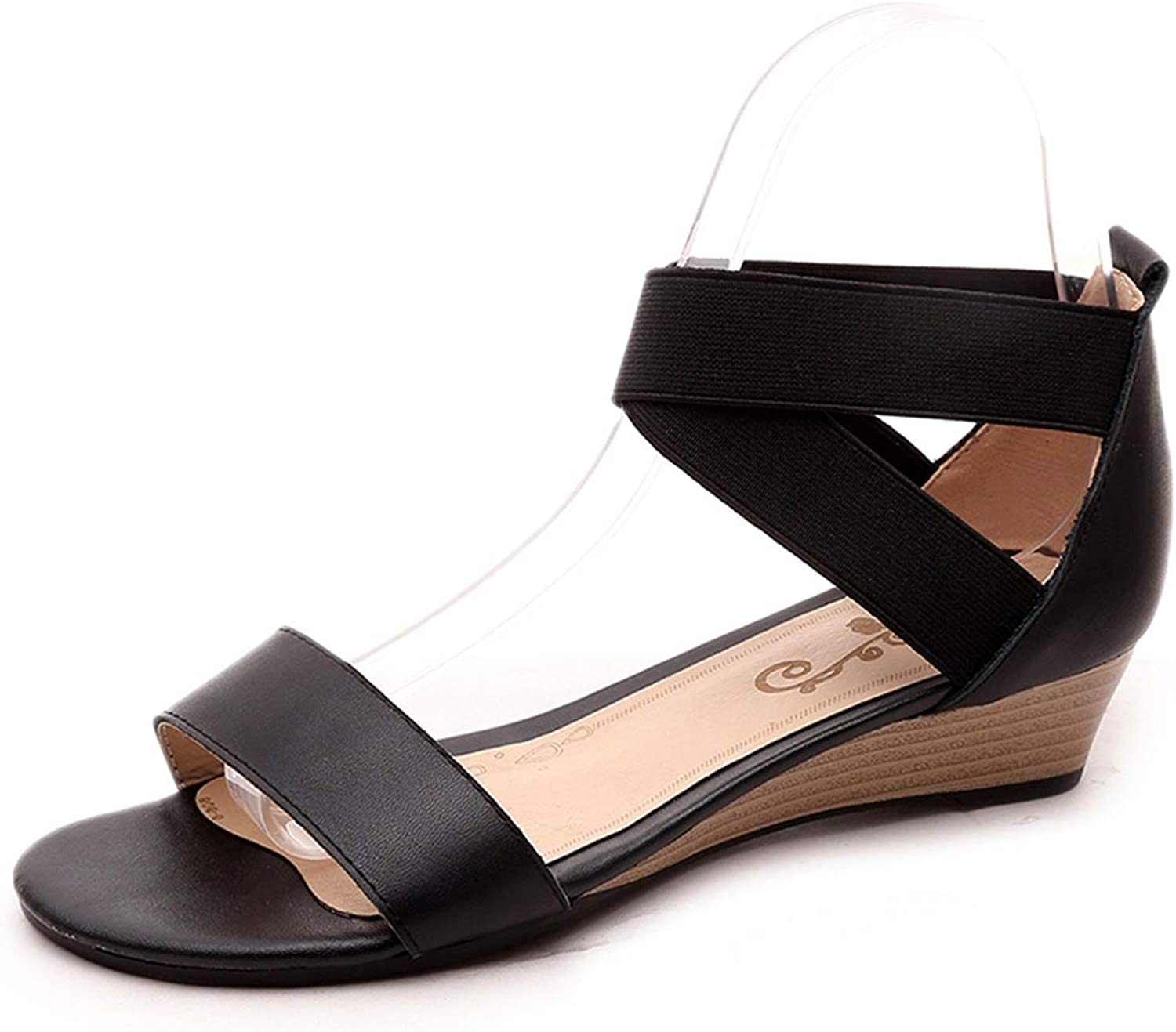 Lazy&Sexy-Heels Genuine Leather Women Sandals Wedges Low Heel Summer Casual shoes Black Ladies shoes