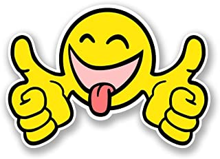 2 x 15cm- 150mm Smiley Thumbs Up Face Vinyl SELF ADHESIVE STICKER Decal Laptop Travel Luggage Car iPad Sign Fun #5798