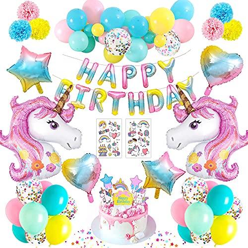 MMTX Decoracion Cumpleaños Niña Globos Unicornio Decoracion Fiesta Adornos Cumpleaños 1 Año 2 3 4 5 Años Feliz Cumpleaños Globos Banner, Globos Látex Confeti Fiesta Globos