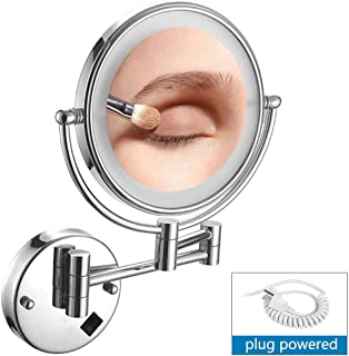 Makeup Mirror Wall Mount Vanity Mirror with Lights, 10x Magnification, Two-Sided 360° Swivel Extendable Round Wall Mount, Shaving in Bedroom or Bathroom - Silver,3X (Size : 5X)