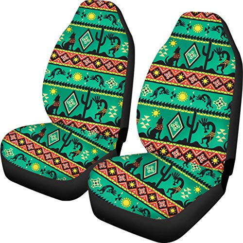 HUGS IDEA Set of 2 Car Seat Case, Primitive Tribe People & Wolf Pattern Bucket Protector Elastic Covers