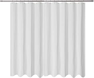 Extra Wide Fabric Shower Curtain 108 x 72 inch, Waffle Weave, Hotel Collection, Water Repellent, Washable, Spa, 230 GSM Heavy Duty, White Pique Pattern Decorative Bathroom Curtain, 18 Holes