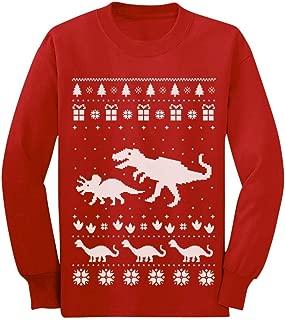 Dinosaur T-Rex Ugly Christmas Cute Holidays Toddler/Kids Long Sleeve T-Shirt