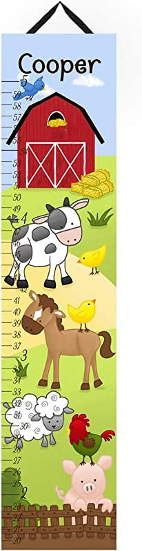 Toad And Lily Canvas GROWTH CHART Farm Animals Cow Horse Sheep Pig Rooster Kids Bedroom Baby Nursery Wall Art GC0106