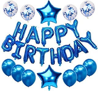 Haimimall Happy Birthday Balloons Set Blue-13pcs Letters Balloons 2pcs Giant Star Foil Balloons 4pcs Confetti Balloons 6pcs Latex Balloons Birthday Party Decorations and Supplies Balloons