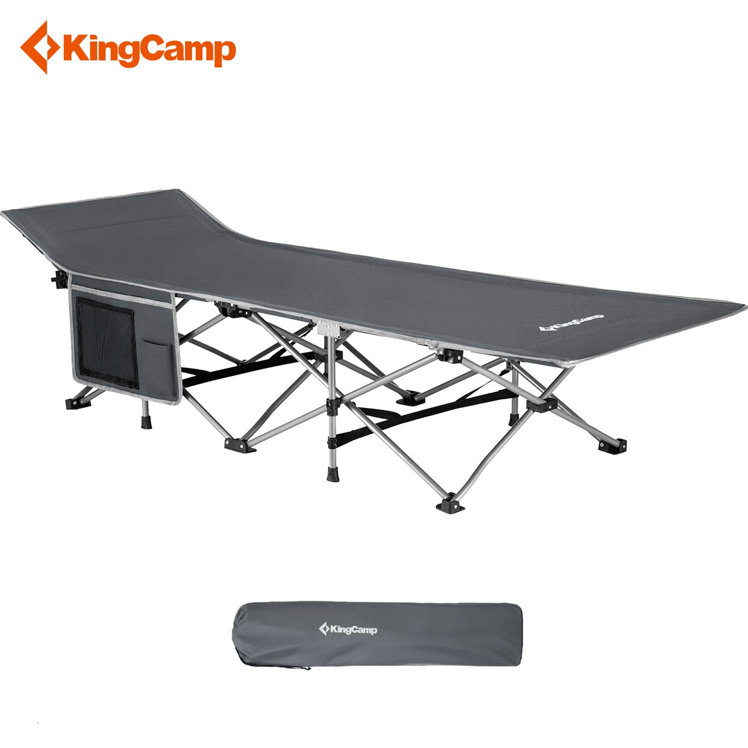 Portable and Lightweight Bed for Indoor /& Outdoor Use KingCamp Folding Camping Cot with Carry Bag Black Blue and Grey