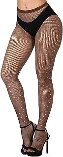 Betteraim Women's Hollow Out Rhinestone Fishnet Pantyhose Tights