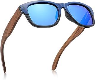 GREENTREEN Occhiali Da Sole Polarizzate per Uomo e Donna, Occhiali con Astine in Legno Lenti Polarizzate, UV 400