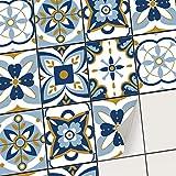 Sticker carrelage Autocollant Mural adhésif I Revêtement adhésif Cuisine et Salle de Bain - mosaique Carreaux de Ciment I Carrelage adhésif (20x25 cm I 24 - Pièces)