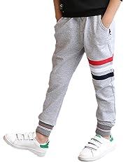 YUEGUANG 子供服 ロングパンツ ジュニア 長ズボン ウエストゴム 縞模様 ジャージ コットン 男の子 男児 美脚ストレッチ カジュアル