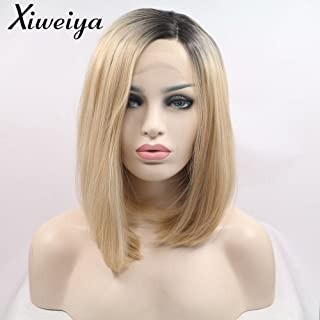 Xiweiya Short Bob Wig Ombre Blonde Side Part Heat Resistant Synthetic Lace Front Wigs For Women Dark Root Blonde Short Haircut Hand Tied Replacement Full Wig