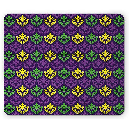 Mardi Gras muismat, antieke oude modieuze motieven in Mardi Gras kleuren tegel patroon, 25x30cm anti-slip rubber, paars groen geel