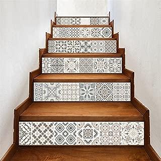 AMAZING WALL AmazingWall Arabic Style Stair Sticker Faux Tile Decal Furniture Mural Decor Kitchen Bathroom Wallpape 7.1x39.4 6PCS/Set