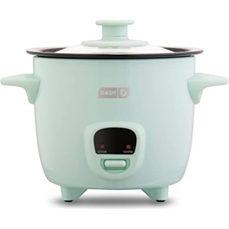 Dash Mini Rice Cooker Steamer with Removable Nonstick Pot, Keep Warm Function & Recipe Guide, 2 cups, for Soups, Stews, Grains & Oatmeal - Aqua