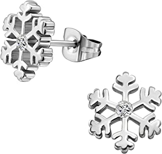 316L Surgical Steel & 14k Yellow Gold Plated Cubic Zirconia Snowflake Earrings