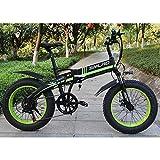 ZLZNX Bicicleta EléCtrica Plegable 20 Pulgadas 500w 48v 10ah BateríA Desmontable City Commuter Bike Bicicleta de MontañA EléCtrica,Verde