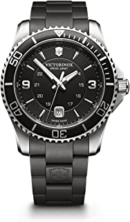 Men's Maverick Stainless Steel Swiss-Quartz Sport Watch with Rubber Strap, Black, 21 (Model: 241698)