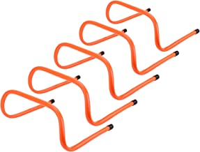 REEHUT 6 inch Speed Hurdles Set of 5 - Agility, Plyometric and All Purpose Speed Training Hurdle with Carry Handles (Orange)…