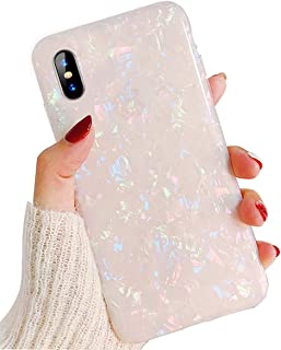 J.west iPhone X Case, Opal iPhone X Case Luxury Sparkle Bling Crystal Clear Soft TPU Silicone Back Cover for Girls Women for Apple 5.8