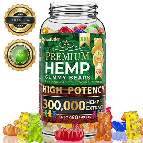 Hemp Gummies Premium XXL 300000 High Potency - Fruity Gummy Bear with Hemp Oil | Natural Hemp Candy Supplements for Pain, Anxiety, Stress & Inflammation Relief | Promotes Sleep & Calm Mooв