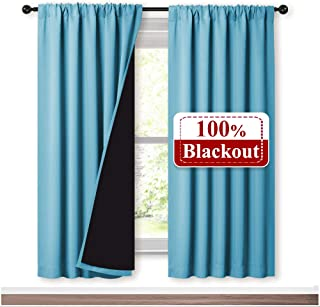 NICETOWN Full Shade Curtain Panels 72 inches Long, Pair of Energy Smart & Noise Blocking Out Blackout Drapes for Guest Room Window, Thermal Insulated Lined Window Dressing (Teal Blue, 52 inch)