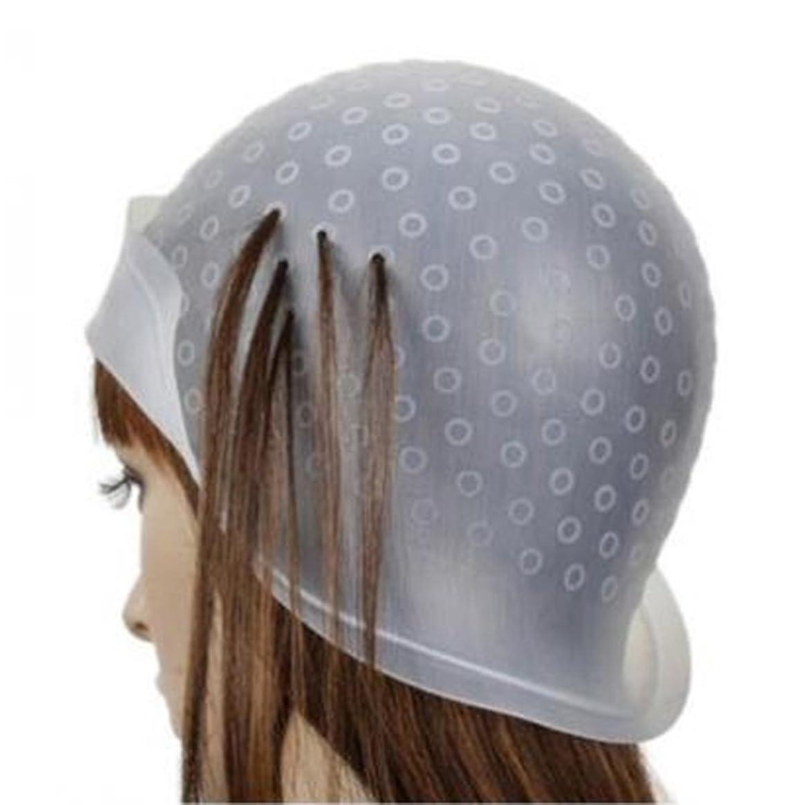 漏れワーカー含むヘア キャップ メッシュ 髪染め用 ヘアキャップ シリコン製 毛染め 洗って使える ヘアカラー 部分染め 自宅 透明(棒付き)