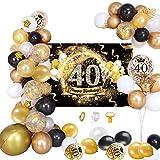 MMTX 40 Decoración de Fiesta de cumpleaños Fondo de póster Dorado Oro Negro Dorado con Guirnalda de Globos, Pancarta de Feliz cumpleaños 40 Globo de látex para Hombres y Mujeres Decoraciones