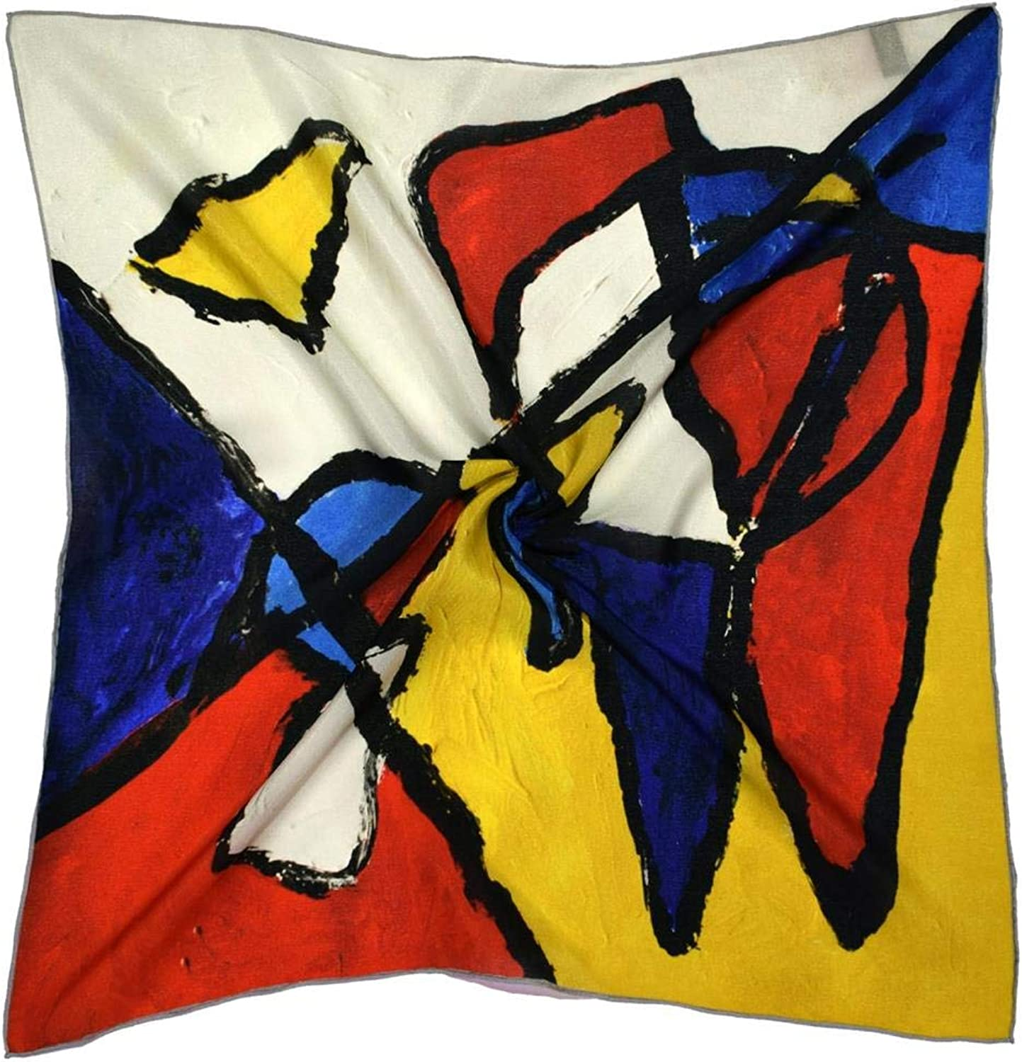Yellow bluee Abstract Thick Small Silk Square Scarf