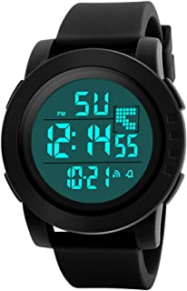 COOKI Mens Digital Sports Watches Large Face LED Screen Waterproof Military Watches and Casual Waterproof Luminous Simple Army Watch Stopwatch Alarm, Mens Watches on Sale Clearance