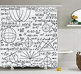 Nyngei Moderne Duschvorhang Schule Genius Smart Student Mathematik Geometrie Wissenschaft Zahlen Formeln Bild Kunst Stoff Badezimmer Dekor Set mit Dunkelviolett