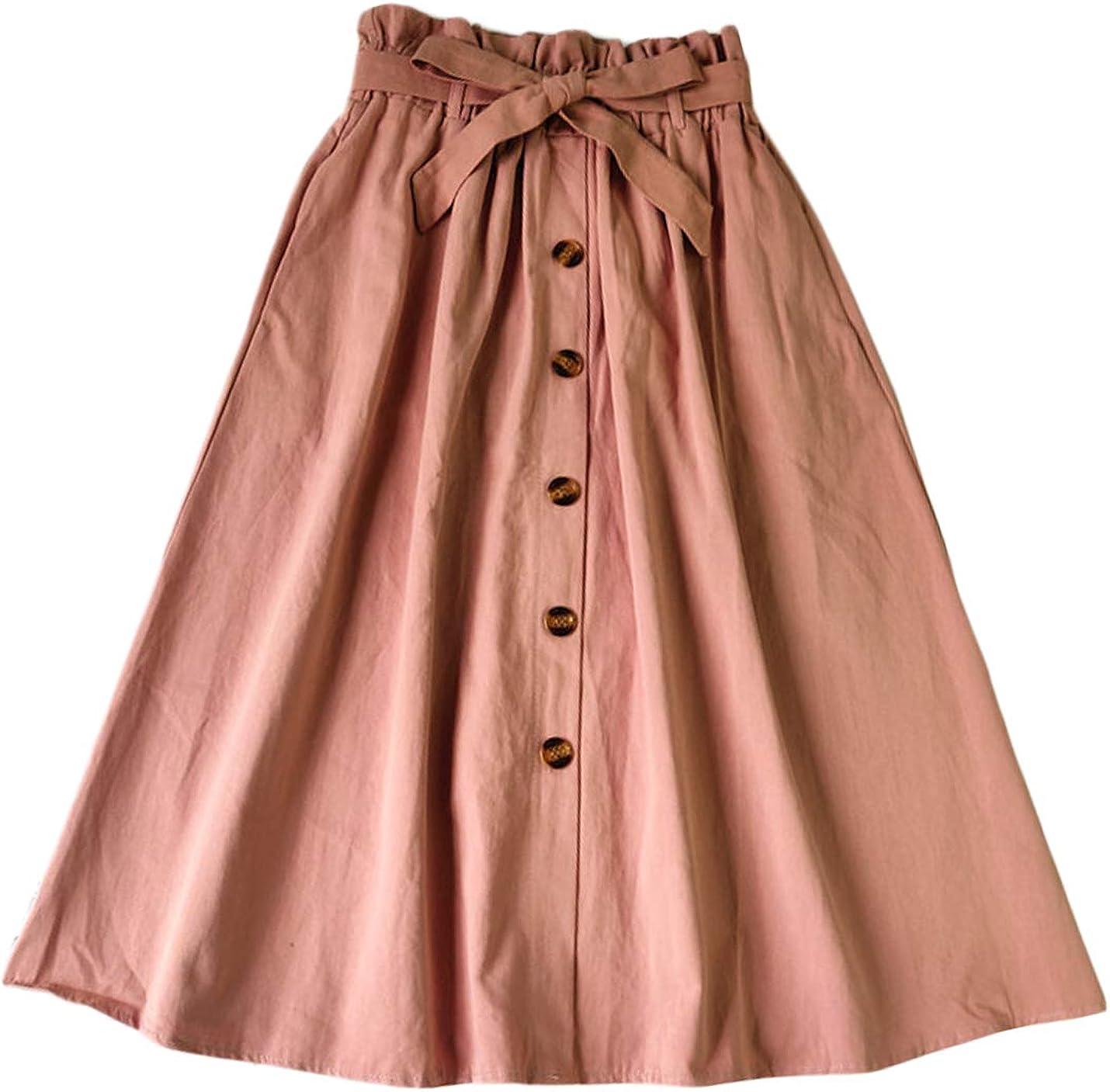 Jenkoon Women's Summer Elastic Waist Button Up Skirt Casual Pleated Skirt with Belt