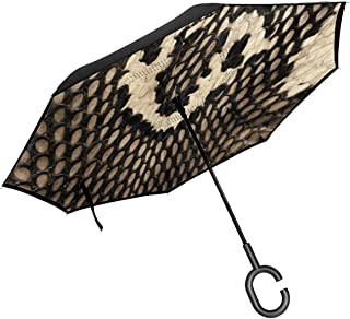 Cobra Snake Skin Inverted Umbrellas,Double Layer Reverse Folding Umbrella For Women And Men, Windproof UV Protection Big Straight Umbrella With C-Shaped Handle
