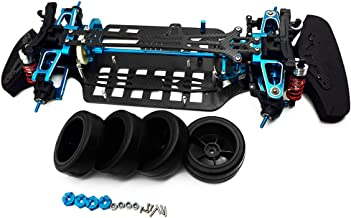 Que-T Aluminium & Carbon Shaft Drive 1:10 Touring Car Chassis Frame Body Kit with 4 Wheels for TT01 TT01E