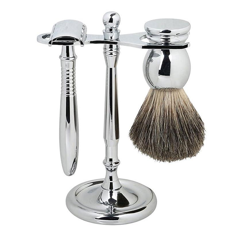 経過パウダーなんとなくSMAGREHO シェービングセット メタル 両刃剃刀 高級感満々 アナグマの柔らかい毛 替刃5枚付