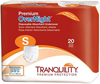 Tranquility Premium OverNight Disposable Absorbent Underwear (DAU) - SM - 20 Count (Pack of 4)