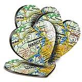 Destination Vinyl ltd Great Posavasos (juego de 4) corazón – Nancy Riverfront Francia Francia mapa de viaje bebida brillante posavasos/protección de mesa para cualquier tipo de mesa #45823