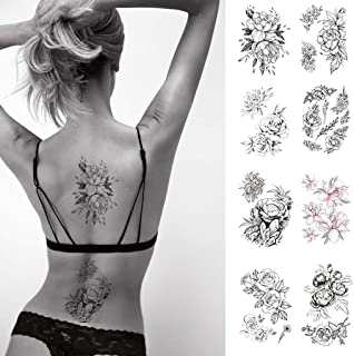 CARGEN 8 Hojas Rosa Negra Tatuaje Flores Tatuaje Pegatinas ...