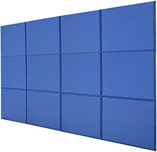 BQLZR 30x30x2.5cm Blue Fiberglass Acoustic Home Studio Deco Soundproof Sound Absorbing Foam Panel Tiles Pack of 12