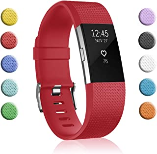 Fundro Replacement Bands Compatible with Fitbit Charge 2, Classic & Special Edition Adjustable Sport Wristbands (A# 1-Pack Christamas Red, Large (6.7