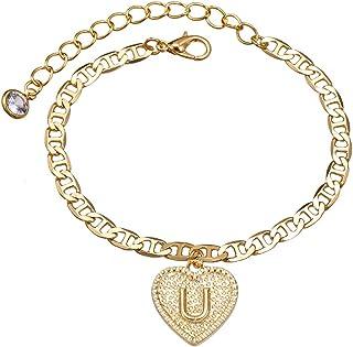 أساور أولية القلب سلسلة بحرف 14K مطلية بالذهب الأبجدية لينك سوار هدية للنساء الفتيات