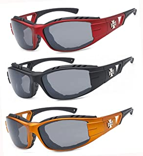 3 Pairs Choppers Padded Foam Wind Resistant Riding Sunglasses