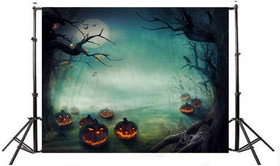 YonCog Studio Photo Backgrounds Durable 5x7ft Halloween Pumpkin Head Theme Photography Background Cloth Collapsible Digital Printing Studio Photography Backdrops for Portrait Video Without Wrinkles