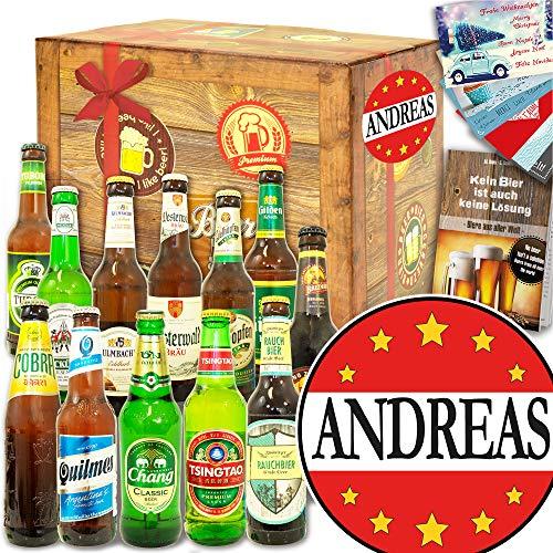 Andreas - 12x Bier Welt und DE - Andreas Jubiläum Geschenk