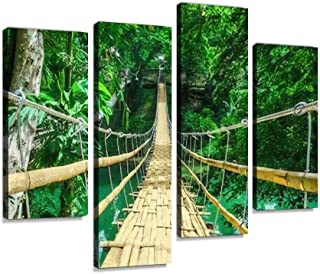 Bamboo pedestrian hanging bridge over river in tropical forest, Bohol, Canvas Print Artwork Wall Art Pictures Framed Digit...