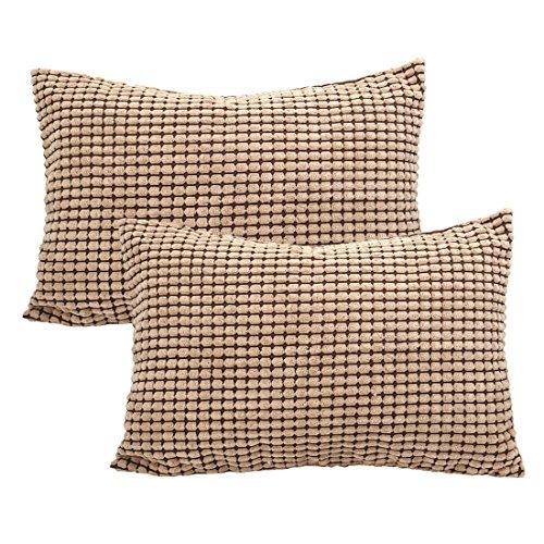 Sourcingmap Funda de almohada de maíz macizo súper suave, funda de cojín para sofá cama, Camel Color, 12' x 18', 2 Packs