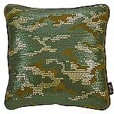Zierkissen Stone Camouflage - Dekokissen grün mit Pailletten - Größe 45x45 cm - Inkl. Füllkissen