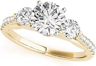 Anillo solitario redondo para mujer, oro blanco de 14 quilates, diamantes de 1,60 quilates, anillo de compromiso, boda, compromiso, aniversario, tallas H – T (J)